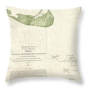 1846 Us Coast Survey Map Of Nantucket  Throw Pillow by Paul Fearn