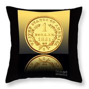 1851 1 Dollar Rare Charlotte Gold Throw Pillow by Jim Carrell