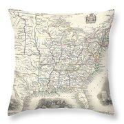1851 Tallis And Rapkin Map Of The United States Throw Pillow