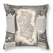 1852 Levasseur Map Of The Department Du Rhone France  Beaujolais Wine Region Throw Pillow