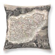 1852 Levasseur Map Of The Department Du Var France  French Riviera Throw Pillow