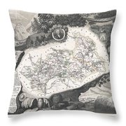 1852 Levasseur Map Of The Department Hautes Alpes France  Throw Pillow