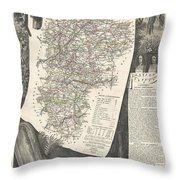 1852 Levasseur Map Of The Department L Aisne France Throw Pillow