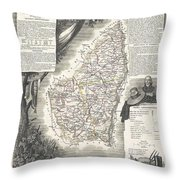 1852 Levasseur Map Of The Department L Ardeche France Throw Pillow
