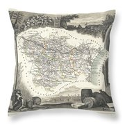 1852 Levasseur Map Of The Department L Aude France Throw Pillow