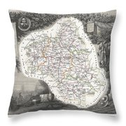 1852 Levasseur Map Of The Department L Aveyron France Roquefort Cheese Region Throw Pillow