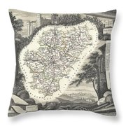 1852 Levasseur Map Of The Department La Charente France Cognac And Pineau Wine Region Throw Pillow