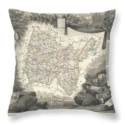 1852 Levasseur Map Of The Department L'ain France Bugey Wine Region Throw Pillow