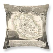 1852 Levasseur Map Of The Reunion Or The Ile Bourbon Indian Ocean Throw Pillow