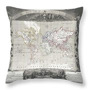 1852 Levasseur Map Of The World Throw Pillow