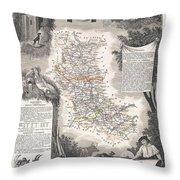 1852 Levasseur Mpa Of The Department De La Loire France Loire Valley Region Throw Pillow