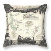 1852 Levassuer Map Of Senegal Senegambia And Madagascar Throw Pillow