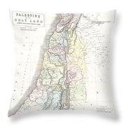 1852 Philip Map Of Palestine  Israel  Holy Land Throw Pillow