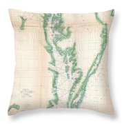 1852 Us. Coast Survey Chart Or Map Of The Chesapeake Bay And Delaware Bay Throw Pillow