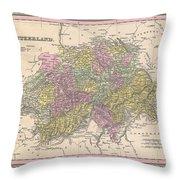 1853 Mitchell Map Of Switzerland  Throw Pillow