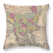 1853 Mitchell Map Of Turkey In Europe And Greece  Greece Balkans Macedonia Throw Pillow