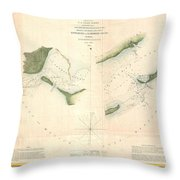 1853 Us Coast Survey Chart Or Map Of St Georges Sound Florida Throw Pillow