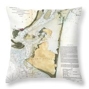 1853 Us Coast Survey Map Of Key Biscayne Bay Key West And The Cedar Keys Florida Throw Pillow