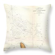 1853 Us Coast Survey Map Of The Romer And Flynns Shoals Near Coney Island New York Throw Pillow