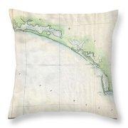 1853 Us Coast Survey Map Of The Western Florida Panhandle Throw Pillow