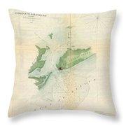 1853 Us Coast Survey Map Or Chart Of Bartaria Bay Louisiana Throw Pillow