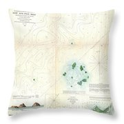 1853 Us Coast Survey Map Or Chart Of Sow And Pigs Reef Off Marthas Vineyard Massachussetts Throw Pillow