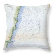 1853 U.s.c.s. Map Of The Virginia Coast Throw Pillow