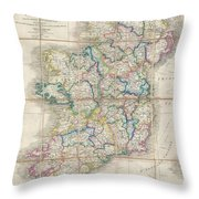 1853 Wyld Pocket Or Case Map Of Ireland Throw Pillow