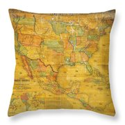 1854 Jacob Monk Wall Map Of North America Throw Pillow