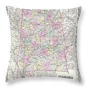 1855 Colton Map Of Alabama Throw Pillow