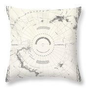 1855 Colton Map Of Antarctica The South Pole Or The Southern Polar Regions Throw Pillow