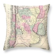 1855 Colton Map Of Argentina Chile Paraguay And Uruguay Throw Pillow