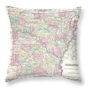 1855 Colton Map Of Arkansas Throw Pillow