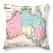 1855 Colton Map Of Australia Throw Pillow