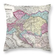 1855 Colton Map Of Austria Hungary And The Czech Republic Throw Pillow