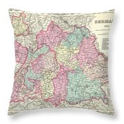 1855 Colton Map Of Bavaria Wurtemberg And Baden Germany Throw Pillow