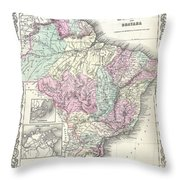 1855 Colton Map Of Brazil And Guyana Throw Pillow