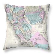 1855 Colton Map Of California And San Francisco Throw Pillow