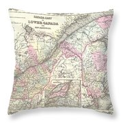 1855 Colton Map Of Canada East Or Quebec Throw Pillow