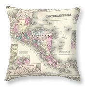 1855 Colton Map Of Central America And Jamaica Throw Pillow