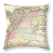 1855 Colton Map Of Columbia Venezuela And Ecuador Throw Pillow