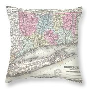 1855 Colton Map Of Connecticut And Long Island Throw Pillow