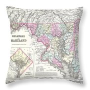 1855 Colton Map Of Delaware Maryland And Washington Dc Throw Pillow