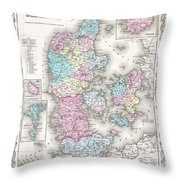 1855 Colton Map Of Denmark Throw Pillow