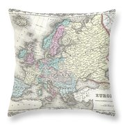 1855 Colton Map Of Europe Throw Pillow