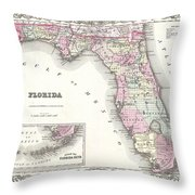 1855 Colton Map Of Florida Throw Pillow