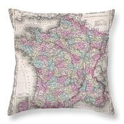 1855 Colton Map Of France Throw Pillow