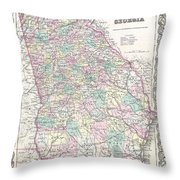 1855 Colton Map Of Georgia Throw Pillow