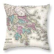 1855 Colton Map Of Greece  Throw Pillow