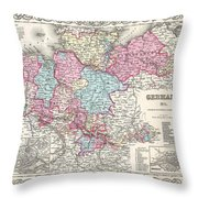 1855 Colton Map Of Hanover And Holstein Germany Throw Pillow
